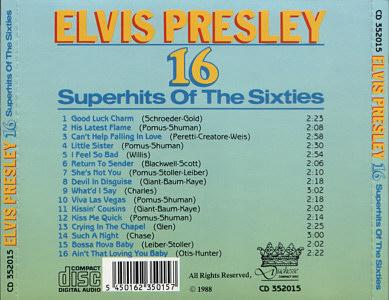 16 Superhits Of The Sixties - Elvis Presley Various CDs