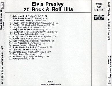 20 Rock & Roll Hits (Flash-Back) - Elvis Presley Various CDs