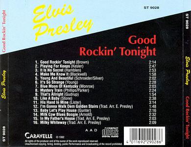 Good Rockin' Tonight Caravelle- Elvis Presley Various CDs