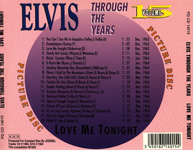 Through The Years Vol. 15  Picture Disc - Elvis Presley Various CDs
