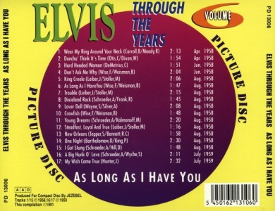 Through The Years Vol. 6 Picture Disc - Elvis Presley Various CDs