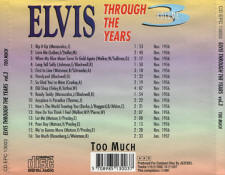 Through The Years Vol. 3  Too Much - Elvis Presley Various CDs