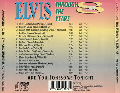 Through The Years Vol. 8  Are You Lonesome Tonight - Elvis Presley Various CDs