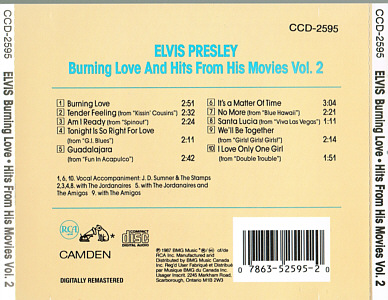 Burning Love and Hits From His Movies Vol.2 - BMG CCD-2595 - Canada 1993 - Elvis Presley CD