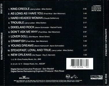 King Creole - Canada 1995 - Columbia House Music CD Club - BMG BG2 3733 - Elvis Presley CD