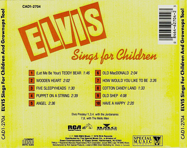 Elvis Sings For Children And Grownups Too! - Canada 1989 - BMG CAD1-2704